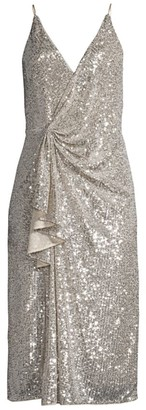 Aidan Mattox Draped Sequin Dress