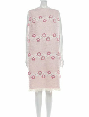 Andrew Gn Boucle With Flower Appliques Knee-Length Dress w/ Tags Pink