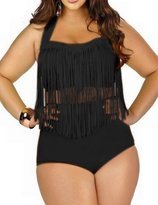 Spring Fever Women's Plus Size Retro High Waist Braided Fringe Top Bikini Swimwear(,3XL)