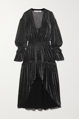 IRO Rolienae Ruffled Metallic Chiffon Midi Dress - Gunmetal