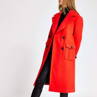 River Island Womens Red double breasted longline coat