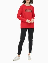 Sequin Logo Box Crewneck Pullover Sweatshirt