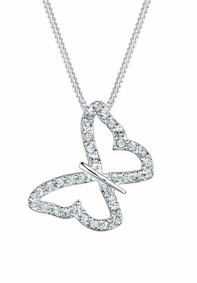 Elli Women's 925 Sterling Silver Xilion Cut Crystal Necklace with Butterfly Pendant Length of 45 cm