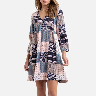 Jacqueline De Yong Patchwork Print Flared Dress at Knee-Length with V-Neck and Long Sleeves