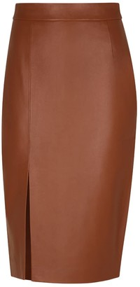 Elle.Sd Long Leather Skirt With Opening
