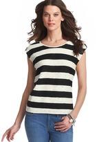 LOFT Striped Tab Sleeve Cotton Sweater