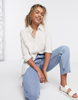 Weekday Luna oversized linen shirt in off-white