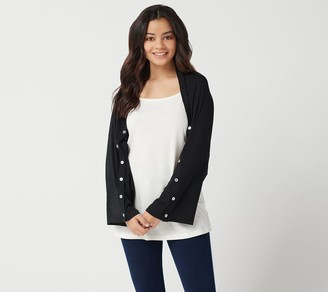 Logo by Lori Goldstein Rayon 230 Shrug with Button Sleeve Detail