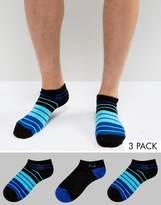 Pringle Sneaker Socks In 3 Pack With Stripe