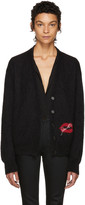 Saint Laurent Black Oversized Lips Cardigan