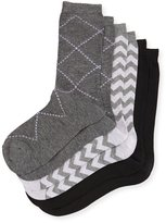 Neiman Marcus Three-Pair Multi-Printed Socks, Gray/Lilac