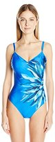 Gottex Women's Lanai V Neck Full Coverage One Piece Swimsuit