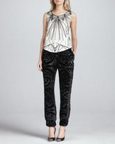 Haute Hippie Beaded Sleeveless Silk Blouse