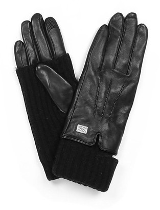 Soia & Kyo Carmel Black Leather Gloves - Small
