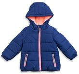 Carter's Size 12M Fleece-Lined Hooded Puffer Coat in Navy