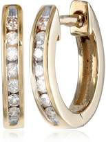Amazon Collection 10k Gold Channel-Set Diamond Hoop Earrings (1/6 cttw, H-I Color, I2-I3 Clarity)