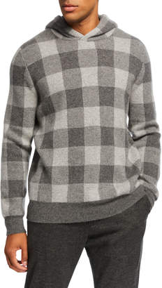Vince Men's Buffalo Plaid Cashmere Hoodie Sweater
