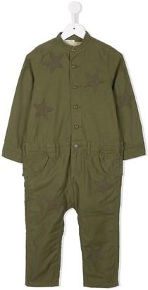 Denim Dungaree Star Embroidered Jumpsuit