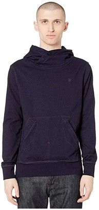 G Star G-Star Aero Indigo Patched On Pocket Hooded Sweatshirt Long Sleeve (Dark Aged) Men's Clothing
