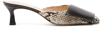 Wandler Isa Square-toe Python-effect Leather Mules - Black Multi