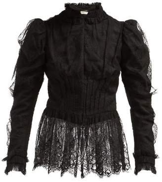 Saint Laurent Puffed Sleeve Chantilly Lace Blouse - Womens - Black