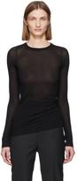 Rick Owens Black Silk Rib Knit Long Sleeve T-Shirt