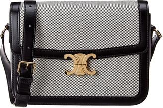 Celine Canvas & Leather Shoulder Bag