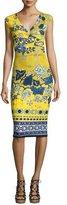 Fuzzi Sleeveless Batik Scuba Dress, Yellow/Blue