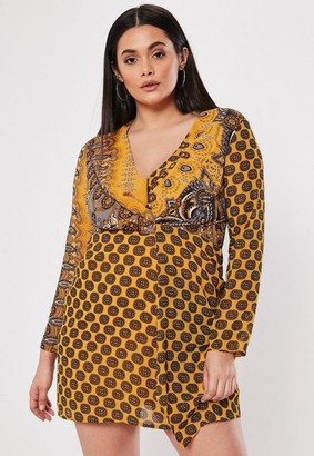 Missguided Plus Size Yellow Paisley Twist Satin Dress