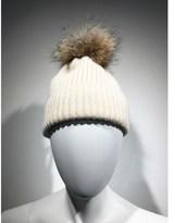 Linda Richards Ribbed Knit Hat Fur Pom Pom.
