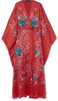MENG - Printed Silk-satin Robe - Claret