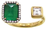 Jemma Wynne Prive Emerald and Princess Cut Diamond Open Ring