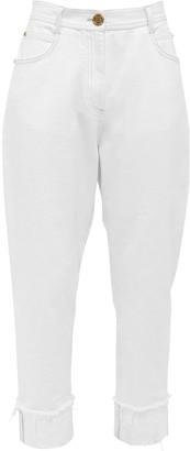 Balmain High Waist Cotton Denim Boyfriend Jeans