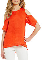 Antonio Melani Sarah Linen Shirting Cold-Shoulder Top