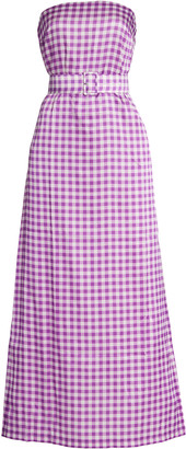 Bernadette Antwerp Carrie Belted Gingham Jersey Maxi Dress