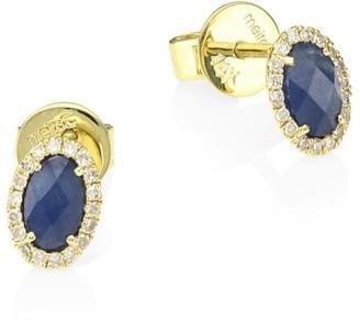 Meira T 14K Yellow Gold, Blue Sapphire & Diamond Stud Earrings