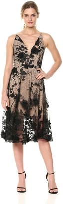 Dress the Population Women's Audrey Spaghetti Strap MIDI A-LINE 3D Floral Dress