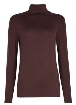 Dorothy Perkins Womens Brown Plain Roll Neck Top, Brown