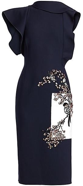 Oscar de la Renta Embroidered Floral Ruffle Sheath Dress