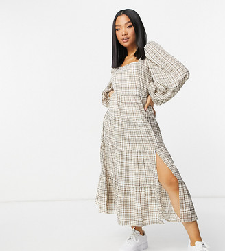 Missguided Petite maxi dress in brown plaid