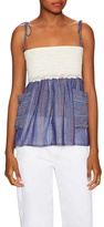 Paul & Joe Sister Pisano Cotton Stripe Lace Panel Top