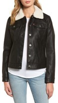 Levi's Women's Faux Leather Jacket With Detachable Faux Fur