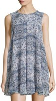 BCBGeneration Printed Pleated Swing Dress, Dark Wave