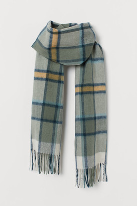 H&M Checked Wool Scarf - Green