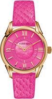 Versace Dafne Round Watch w/ Leather Strap, Golden/Pink