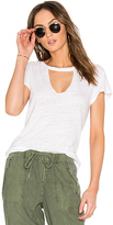 LnA Short Sleeve Cut Out V Tee in White. - size L (also in )