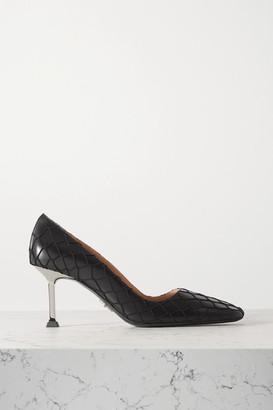 Cesare Paciotti Leather And Fishnet Pumps - Black