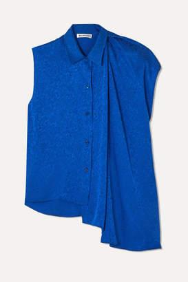 Balenciaga Draped Asymmetric Floral-jacquard Blouse - Royal blue