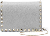 Valentino The Rockstud Textured-leather Shoulder Bag - Light gray