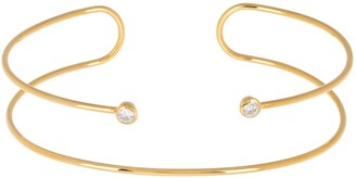 Argentovivo Gold Plated Sterling Silver CZ Wire Cuff